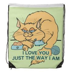 I Love You Funny Cat Graphic Saying Drawstring Bags