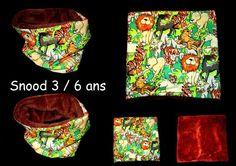 snood , tour de cou, cache cou, echarpe enfant 3 à 6 ans animaux de la jungle : Echarpe, foulard, cravate par babanou84