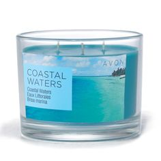Summer Home Coastal Waters Candle. Notes of a cool, seaside breeze.  Never leave burning candles unattended. Keep out of reach of children.     Contact Ind. Avon Rep. Sherry Baze   www.youravon/com/sherrybaze
