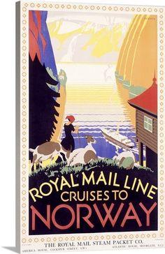 Royal Mail Ocean Line, Norway,Vintage Poster, by Herrick