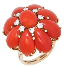 Yellow Gold Coral & Diamond Dome Ring | From a unique collection of vintage dome rings at http://www.1stdibs.com/jewelry/rings/dome-rings/