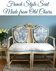 French Style Sofa Chair made from two old chairs - toile de jouy fabric - easy tutotial