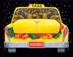 Santa Taxi, rear -- by Stephanie Stouffer Very Merry Christmas, Christmas Art, Christmas Holidays, Christmas Ideas, Illustration Noel, Christmas Illustration, Christmas Pictures, Xmas Pics, Welcome Winter