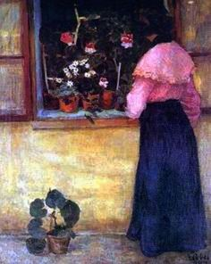 Béla Czóbel - Girl by the Window with Flower, 1904 Window View, Jewish Art, Hanging Art, Impressionism, Past, Museum, Windows, Flowers, Paintings