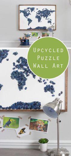DIY Wohnzimmerdeko - eine Weltkarte aus einem alten unvollständigen Puzzle