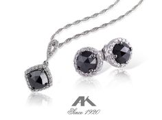 A black diamond pendant earring duo from Allison-Kaufman Jewelry.
