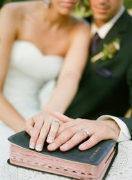 Don't forget this shot at your wedding. Bible and the rings for a Christian marriage.
