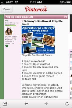 Subway's southwest chipotle copycat recipe