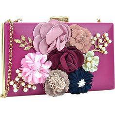 Dasein Fashion Frame Evening Clutch - Rose - Clutches ($30) ❤ liked on Polyvore featuring bags, handbags, clutches, pink, pink purse, chain strap handbag, flower purse, evening purses and special occasion clutches
