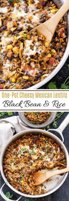 This One Pot Cheese Mexican Lentil, Black Beans and Rice it's additionally veggie lover and ideal for meatless Monday! When I eat meatless I wan… One Pot Cheesy Mexican Lentils, Black Beans and Rice - One Pot Cheesy Mexican Lentils, Black Beans and Rice Black Beans And Rice, Lentils And Rice, Black Rice, Brown Rice, Rice And Beans Recipe, Cheesy Beans Recipe, Crockpot Beans And Rice, Recipes For Lentils, Easy Lentil Recipes