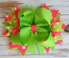Girls hair bows, Hair bows for girls, Pink Green Stacked Boutique Bow