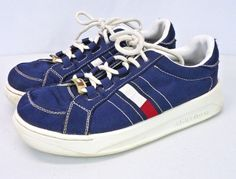 28f417fb9 Vintage 90s Tommy Hilfiger Platform Sole Blue Canvas Sneakers Shoes Womens  7.5
