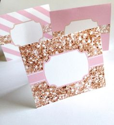 Blank Sparkle Couture  Labels for Place Cards by HoneyBunnyStudio, $8.00