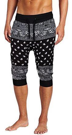 Mega Shop | Mens Fleece Bandana Paisley Capri Joggers Drawstring Jogger Pants