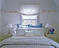 beach house bedroom starfish interior design blue and yellow victoria hagan Beach House Bedroom, Home Bedroom, Bedroom Decor, Seaside Bedroom, Calm Bedroom, Beach Room, Dining Room Wainscoting, Beadboard Wainscoting, Wainscoting Nursery