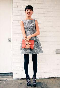 Zara tulip dress  Tuxedo blazer from misspouty.com  Alexis Hudson orange clutch  Via Spiga lace peep toe booties  Hermes emamel bracelet  nov