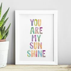 You Are My Sunshine http://www.amazon.com/dp/B01A481NTO Wall Art Home Decor Inspiration @Amazon
