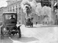 Steam propelled Amoskeag fire engine on the way to a fire, Vancouver, BC,