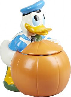 Walt Disney Productions Donald On A Pumpkin Ceramic Cookie Jar