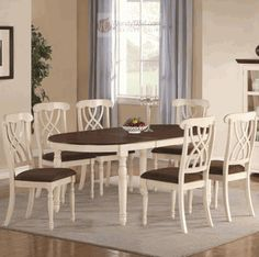 Cameron 7 Pieces Cottage Oval Dining Table and Side Chair Set