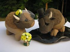 This listing is for a custom hand-sculpted darling buffalo set: You choose flower type and colors.    *******Have a tight budget, but want us to