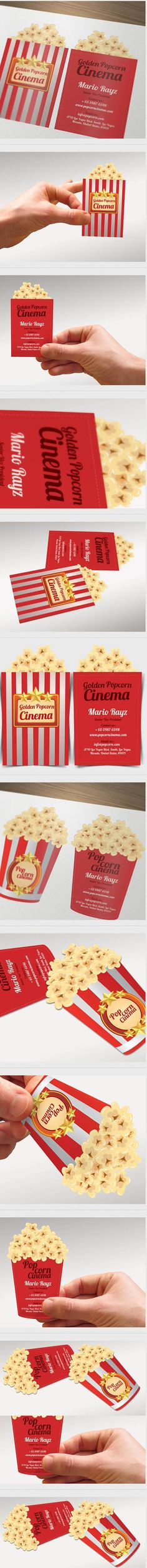 Looks good enough to eat! Inspirational Popcorn Cinema Business Card