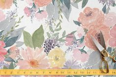 Bold Watercolor Floral Fabric by Qing Ji at minted.com
