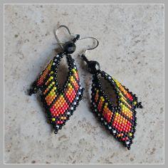 Monarch Leaf Earrings - Monarch Butterfly Wing Earrings - Russian Leaf Style Earrings