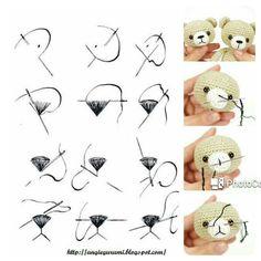 Cómo hacer nariz de oso amigurumi.
