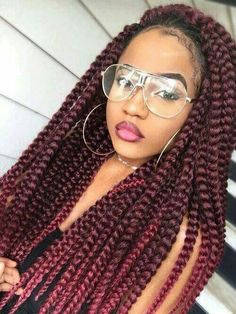 Jumbo red box braids
