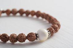 ENJOY TODAY | precious rudraksha beaded and shell bead stretch bracelet | brown ivory | shop here >>www.apinchofsalt.net<< >>www.etsy.com/shop/mypinchofsalt<<