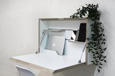 Wall Mounted Folding Desk Space Saving Desk Office Desk Secretary Desk Floating Desk White Plywood Table Home Office Desk White Modern Desk Folding Study Table, Folding Walls, Space Saving Desk, Desk Space, Space Saver, Portable Laptop Desk, Laptop Table, Study Table Designs, Wall Mounted Table