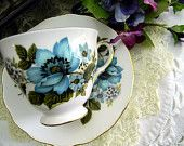 Blue Rose Teacup Tea Cup and Saucer - Queen Anne Footed -  Fine Bone China 7764