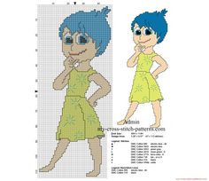 Cross stitch pattern Joy from Disney Inside Out 2015 movie