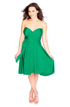 convertible bridesmaid dresses. Cheaper than the Dessy brand - and brighter colors