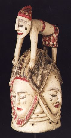Africa | Helmet mask from the Temne people of northern Sierra Leone | Wood and polychrome paint | 20th century