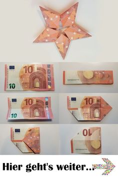 Are you looking for a guide on how to fold a money origami star from multiple banknotes? Then you are exactly right here! This star is a real gem from the money origami art. Five banknotes are folded Money Origami, Origami Tutorial, Origami Easy, Origami Folding, Origami Butterfly, Origami Stars, Don D'argent, Design Origami, Origami Simple