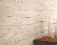 Rivestimento realizzato con il Muretto 3D, colore Ivory della nostra collezione effetto pietra: Lake Stone http://www.supergres.com/your-home/pavimenti/item/565-lake-stone
