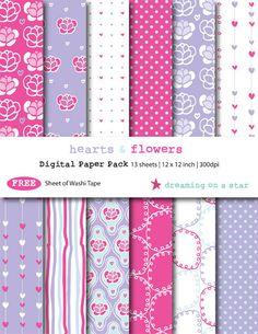 Digital Scrapbooking Paper Pack - Hearts  Flowers by DreamingOnAStar