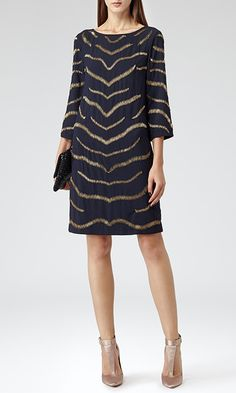 Reiss Harlow Streamlined Embellished Dress Shift Dress in Ink Blue and Gold