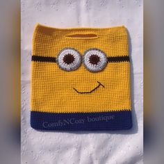 Crochet Minion inspired trick or treat Halloween candy bag by ComfyNCozyBoutique on Etsy