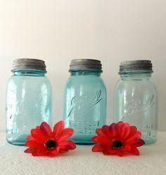 "Where does the aqua sea glass come from? HERE!! Set of 3 Vintage Blue Ball Mason Quart Jars 2-L ""Dropped A""  2 L Jars c1910-1923"