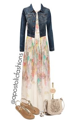 A fashion look from July 2017 featuring peplum shirt, denim skirt and flat shoes. Browse and shop related looks. Maxi Skirt Fall, Maxi Skirt Outfits, Modest Outfits, Classy Outfits, Modest Fashion, Beautiful Outfits, Boho Fashion, Fashion Dresses, Apostolic Fashion