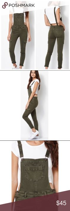 Kendall & Kylie Utility Overalls ⭐️ Olive overalls! Really cute and stylish!  Worn twice, great condition . No trades Kendall & Kylie Jeans Overalls