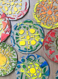 Colorful mandala pizza printing plates (an easy printmaking idea for kids)