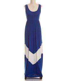 Loving this Royal & White Chevron Maxi Dress on #zulily! #zulilyfinds