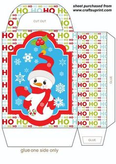 HOHOHO Christmas Snowman gift bag 2 on Craftsuprint designed by Sharon Poore - HOHOHO Christmas Snowman gift bag,you will need to print 2 sheets to make the gift bag - Now available for download!
