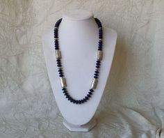 """Native American Navajo Stamped Sterling Silver Lapis Lazuli Bead Necklace 28.5"""""""