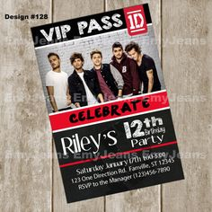 One Direction InvitationOne Direction Birthday by EmyJeans on Etsy  #HEPteam