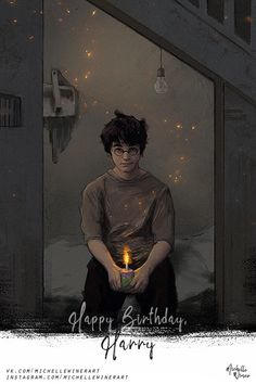 Happy Birthday, Harry Illustration by Michelle Winer Harry Potter Tumblr, Harry Potter Anime, Harry Potter Poster, Harry Potter Plakat, Arte Do Harry Potter, Harry Potter Artwork, Harry Potter Drawings, Harry James Potter, Harry Potter Pictures